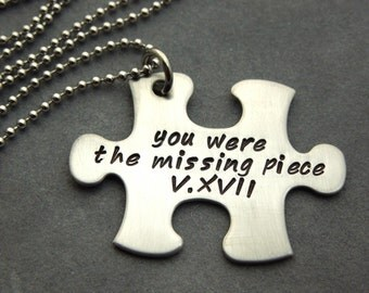 Personalized Puzzle piece necklace hand stamped stainless steel 1 necklace
