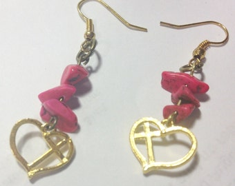 Earrings Gold Heart and Cross with Pink Stacked Stones, Religious Earrings, Cross Earrings, Cross and Heart  Gold Earrings, Beach Earrings