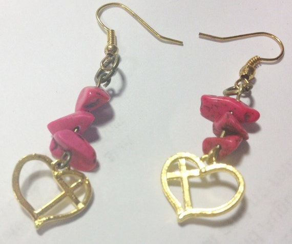 earrings gold and cross with pink stacked stones