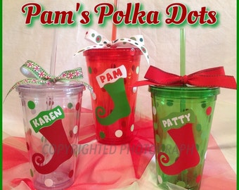 Personalized Acrylic CHRISTMAS TUMBLER with STOCKING Red Green Clear with Name or Initial