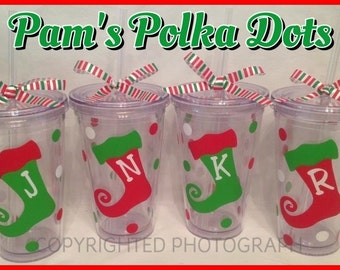 4 Personalized Acrylic CHRISTMAS TUMBLERS with STOCKING Red Green Clear with Name or Initial