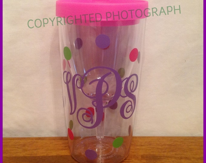 Personalized Monogrammed VINO 2 GO Wine To Go Acrylic Wine Sippy Cup Polka Dots for picnics tailgates weddings