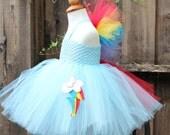 Rainbow dash Costume- Rainbow Dash Dress- My Little Pony Dress, Rainbow dash tutu dress, rainbow dash