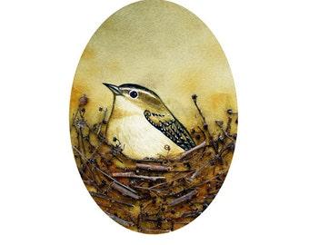 Bird Nest no. 19 Carolina Wren Watercolor and Found Object Art Print