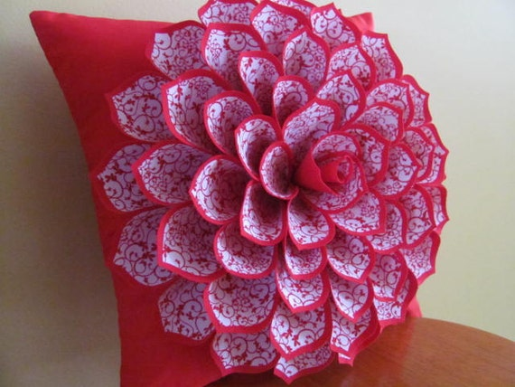 Decorative Pillows Flowers : Decorative Pillow Flower Pillow Pattern SOPHIA FLOWER Felt