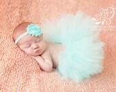 Newborn Tutu, Aqua Skirt, Baby Girl, Photo Prop, Flower Headband, Matching Set