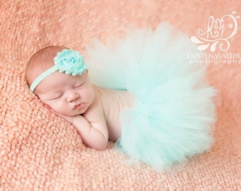 Newborn Tutu, Aqua Skirt, Baby Girl, Photo Prop, Flower Headband, Matching Set