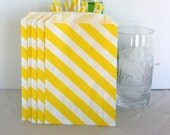 Yellow treat bag stripes, cookie bags, bitty bags, Yellow candy bar bags, yellow and white party bag
