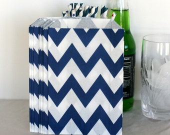 Navy Chevron  party bags, treat, bitty, gift, party favor, bags, party supplies,candy buffet, wedding candy bags,sweet shop