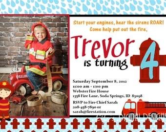Fireman Birthday Invitations Fire Truck and Hydrant Invitations Photo Option Customizable Printable