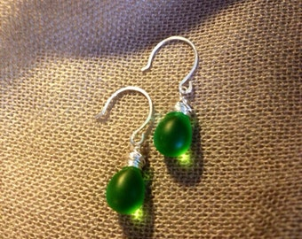 Apple Green Glass and Silver Wire wrapped Earrings