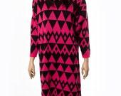 Sweater dress with diamond triangle motif