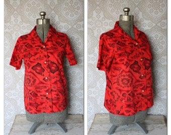 Women's Vintage 1960's Ui- Maikai Red Hawaiian Print Button Down Shirt Medium