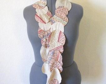 Circle t-shirt scarf in oatmeal or beige print - Eco friendly