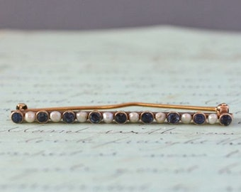 Antique 14K Pearl and Saphire Bar Pin