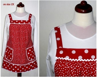 "Red Polka Dot Pinafore Apron, ""no tie apron"" - loose-fitting smock apron - all day apron, made-to-order XS to Plus Size"