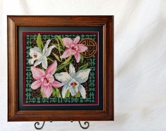 Chinese flowers needlepoint in square frame, Asian decor for the wall, stitchery