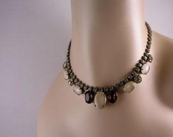 Vintage Moonstone Amber and Rhinestone Necklace