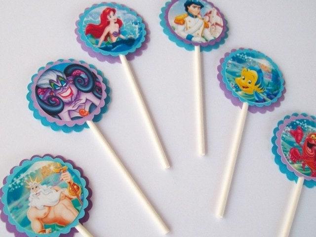 Little Mermaid Cake Decorating Kit Topper : 12 The Little Mermaid Cupcake Toppers/ Birthday Party/ Party