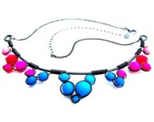 Wire Wrapped Necklace - Pink Purple and Blue Neon Glass Beads Black Wire and Adjustable Matching Chain