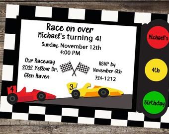 Race Car Birthday, Race Car Invite, Race Car Invitation, Cars Birthday, Race Car Party, Birthday Invitation Boy, Race Track Theme