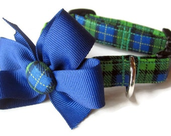 Blue and Green Plaid Dog Collar size Small
