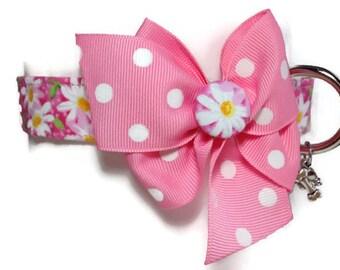 Pink Daisy Dog Collar size Medium