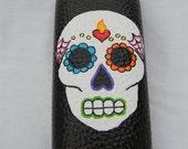 Colorful Sugar Skull on Black Eyeglass Case