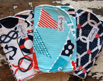 Baby Boy Burp Cloths - a'hoy matey, bunting, and nautical knots - Set of 3