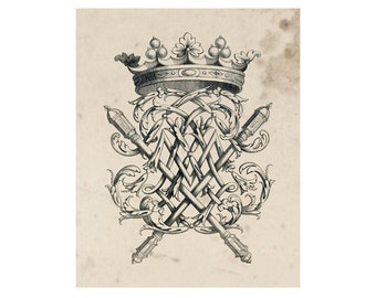 Crest of French Nobility 4, Peerage Insignia Emblems - 8x10 Digital Files to Download Print, Similar to Restoration Hardware, 16 available