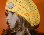 Fall HIPPIE HAT Women or Teen Cap Crocheted Slouchy Hat, Rasta Cap, Big Beanie in Yellow  with Coco Eco Button on Side