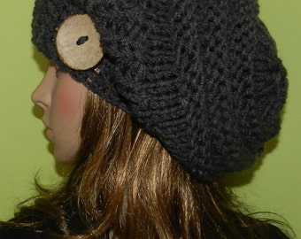Hand Knit Women/Teen Slouchy Hat,  Chunky Big Beanie, Rasta Cap, Vegan Friendly Slouch Beanie with Big Eco Coco Button -  Gray