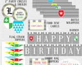 Knight in Shining Armor Party Pack, Knight Birthday Party Banner, Knight Bottle Wrappers, Knight Toppers, Knight Place Cards - PRINTABLE