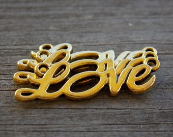 10 Antiqued Gold Love Connector Charms 33mm