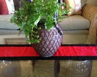 Vintage red and black silk kimono table runner wall decor