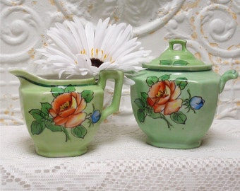 Japan Creamer And Sugar Hand Painted Roses
