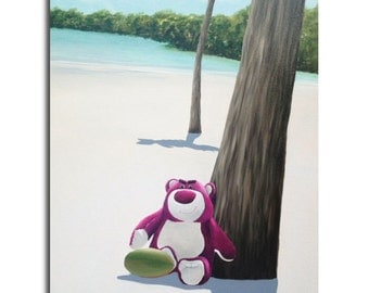 """LOTSO Bear on the Shore - or - Remembering Florida - coconut, palm tree, white sand, ocean - pale blue, white, cream, green - 27,6"""" x 19,7"""""""