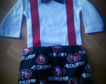 49ers inspired handsome little guy outfit 2 pc