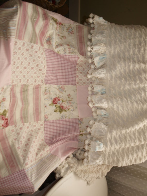 Shower Curtain Shabby Chic Patchwork With Vintage Chenille Valance