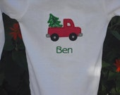 Boy's Christmas Bodysuit. Christmas tree in truck. Machine embroidered and appliqued. Personalization available.
