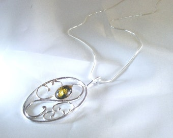 Silver Filigree Pendant with Green Amber by Arcturus