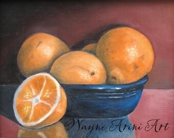 Oranges in Cobalt Blue Bowl Original Still Life 8x10 Oil Painting