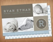 baby boy or girl photo birth announcement - modern