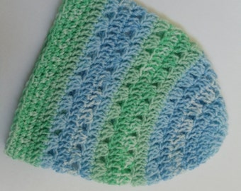 Clearance Blue Green Lacy Crochet Beanie Blue and Green Striped Womens Crochet Hat (HAT103 B Boy)