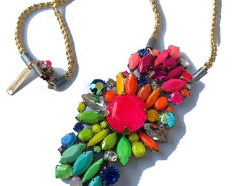 Pastel and Neon Handpainted Vintage Rhinestone Necklace