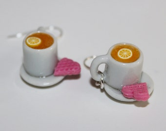 Tea Party earrings - Tea Time Earrings - Lemon Tea and cookies Earrings - Food earrings