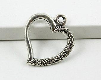 20Pcs Antique Silver Heart Charm Heart Pendant 22mm (PND379)