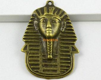 10Pcs Antique Brass Pharaoh Charm Pharaoh Pendant 45x35mm (PND601)
