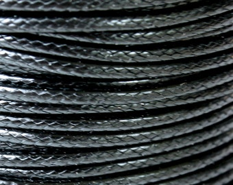 15 Yards - 1mm BLACK KOREA Waxed Cotton Cord - 30 Feet Round Cotton Wax Cord - Beading Stringing Cord - Instant Ship - USA Seller
