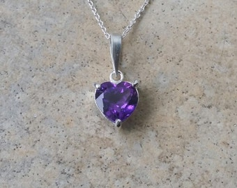 Amethyst heart -1.5cts - necklace in Sterling Silver - genuine Amethyst - February birthstone